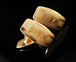 Personalized DK cufflinks Wedding jewelry Victorian gold filled initial signet a - $195.00
