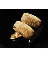 Personalized DK cufflinks Wedding jewelry Victorian gold filled initial ... - $195.00