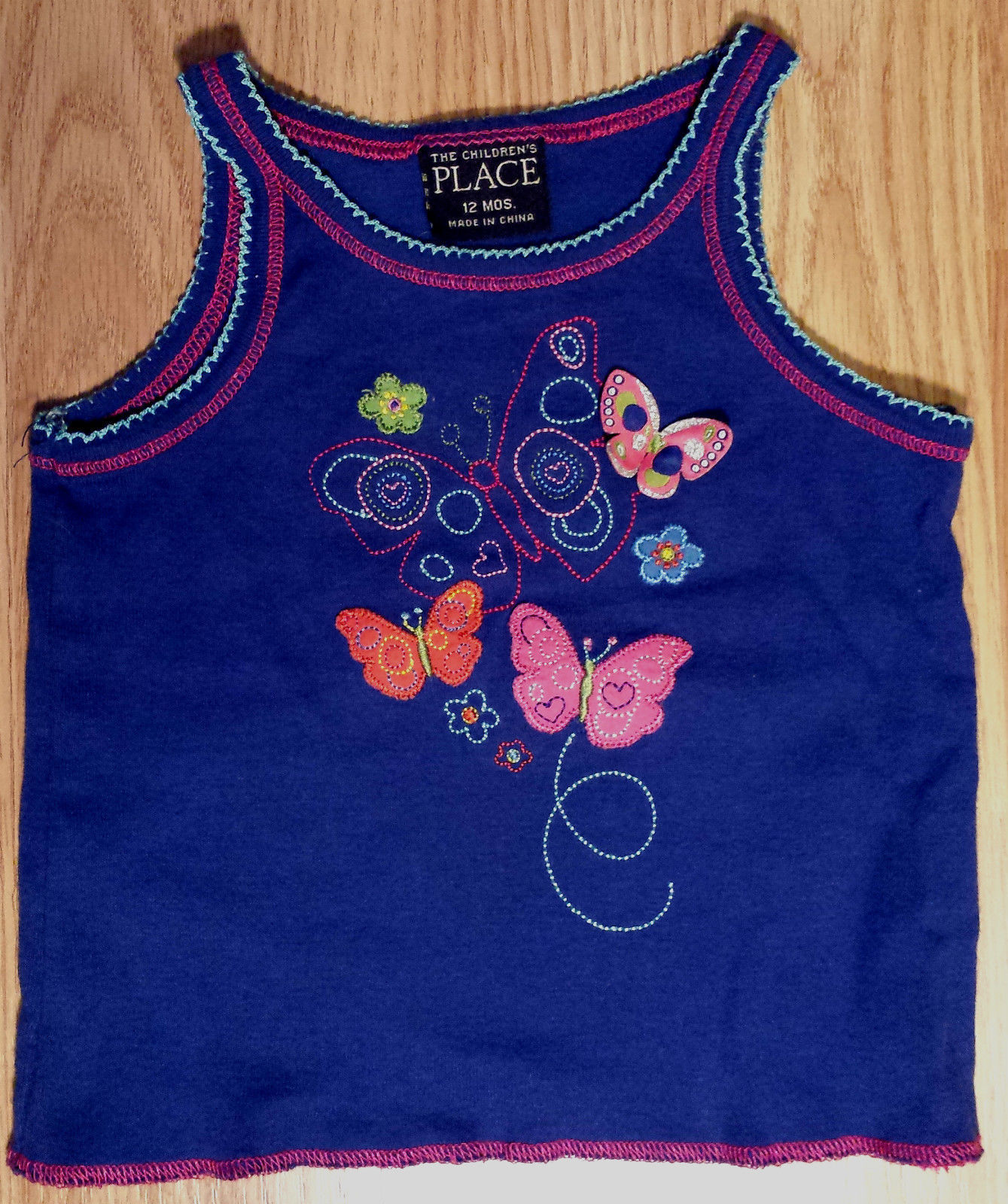 Girl's Size 12 M 9-12 Months 2 Pc The Children's Place Blue Butterfly Top, Skirt
