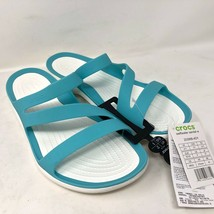 Crocs Womens Swiftwater Teal White Sandal Slide Pool Size 11 Beach Ocean Slip On - $64.34