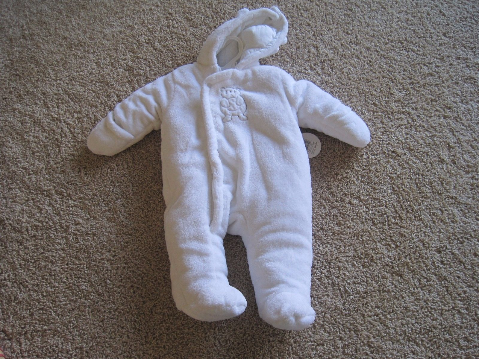 BNWT Absorba infant girls padded winter suit, mittens, footed, 6-9M, Ivory, $65 - $27.81