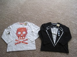 BNWT Crazy 8 boy's long sleeves100% cotton t-shirts, lot of 2, M(7-8), b... - $9.50