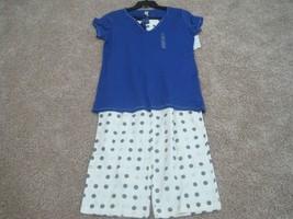 BNWT Flirtitude 2pc womens long pajama set, XL, short sleeve top, blue/cream,$44 - $18.05