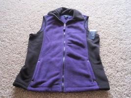BNWT Chaps women's full zip up fleece vest, soft, warm, size S, purple/b... - $32.45