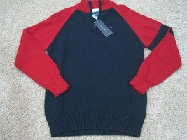 BNWT Tommy Hilfiger 1/4 zip boys cotton pullover, red/navy, L(16/18), $49.50 - $25.87