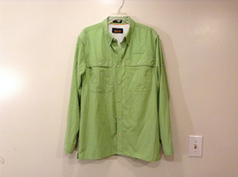 Orvis Men's Size M Button Down Shirt Textured Light Green Utility Chest Pockets