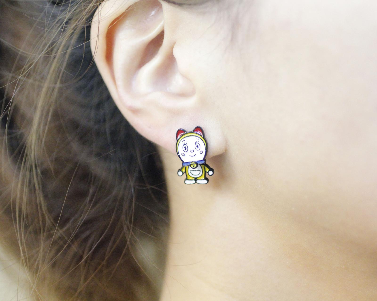 Cute Doraemon and Girl friend Ear jacket, Doraemon two way earrings, Cartoon Ear