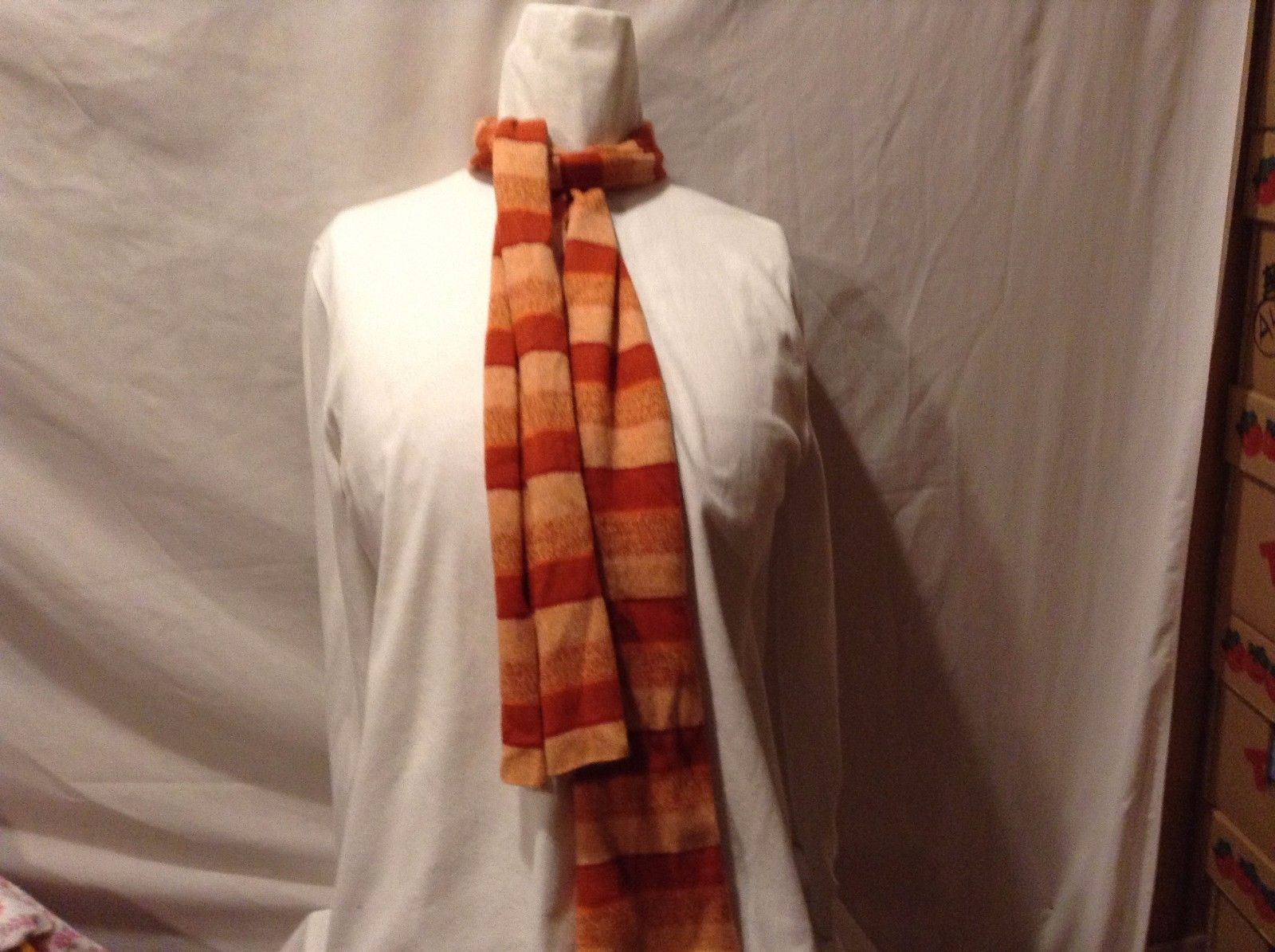 Great Used Condition Fifi Cashmer Orange Shades Vertical Stripes Scarf