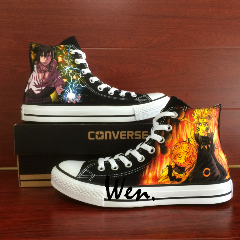 Anime Naruto Shippuuden Sasuke Design Black Converse All Star Hand Painted Shoes