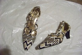 womens ashro printed fabric strappy heels shoes size 7 - $19.78