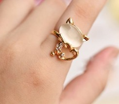 Gold Faux Gem Kitty Cocktail Ring with Rhinestone(Color:Champagne/Orange... - $2.99