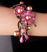 WIDE Rhinestone bracelet / Bohemian ladybug bangle / pink enamel flower ... - $95.00