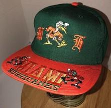 Vtg Miami Hurricanes 90s Headmaster Hat Cap Snapback Ncaa Raised Graphics Rare - $46.95