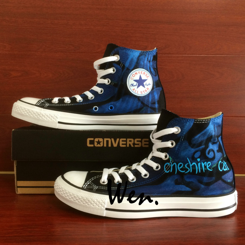 Men Women Converse All Star Hand Painted Shoes Alice in Wonderland Cheshire Cat