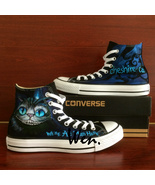 Men Women Converse All Star Hand Painted Shoes Alice in Wonderland Chesh... - $149.00
