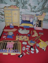 Vintage Paper Dolls-Baby/Nursery Furniture/Many accessories/clothes-NICE... - $24.75