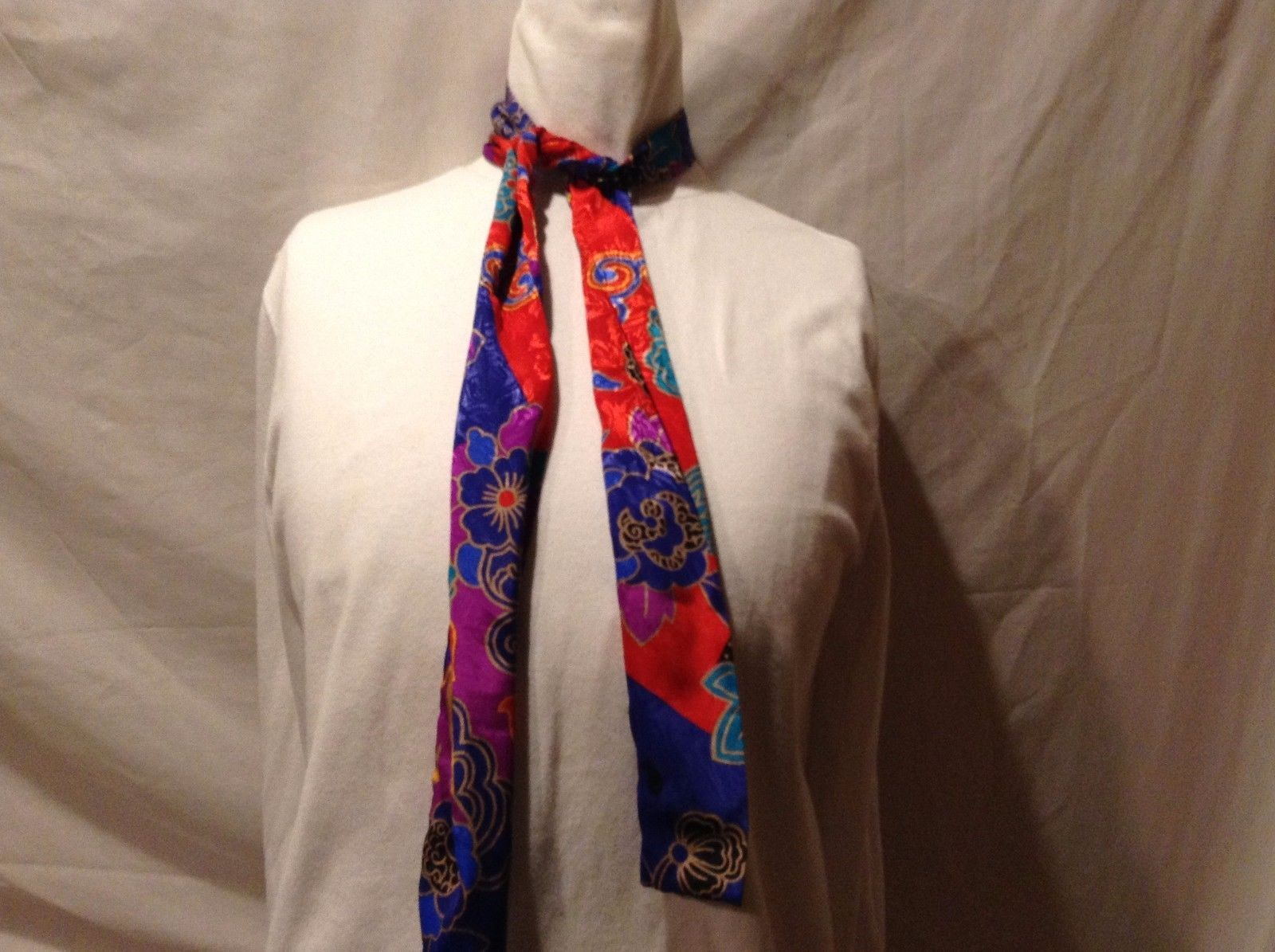 Great Condition Purple Blue Red Cyan Black Tan Orange Floral Geometric Scarf