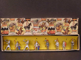 1930s Crescent Toys Britains Lead Soldier Cowboy Indian Horse Litho Knight Box S - $129.95