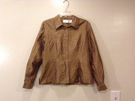 Worthington Women's Petite Size 10 10P Shirt Silk Button Down Top Brown Striped