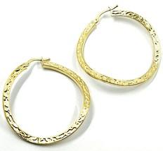 18K YELLOW GOLD CIRCLE HOOPS PENDANT EARRINGS, 4 cm x 2 mm WORKED & ONDULATE image 1