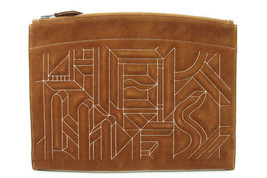 Authentic Hermes Brown Suede Clutch Bag X free shipping from Japan - $1,801.80