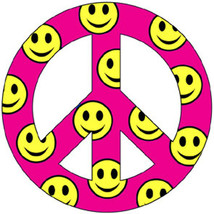 """Pink Smiley Peace 2"""" Car/Refrigerator Magnet - $4.74"""