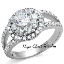 HOPECHESTJEWELRY SILVER TONE STAINLESS STEEL CZ FLOWER ENGAGEMENT RING S... - $19.48