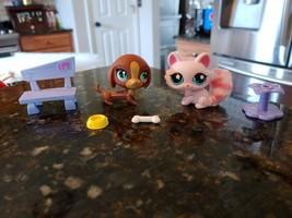 LITTLEST PET SHOP LPS PINK FUZZY TAIL CAT & DASCHUND 2 PETS WITH BONE DI... - $42.46