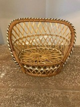 Vintage Wicker/Rattan Love Seat Couch Doll Size Excellent Condition! - $38.69