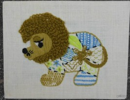 "Hand Made Lion Crewel on Stretcher 8 x 10"" - $18.40"