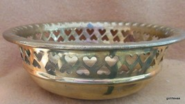 "Vintage Brass Bowl with Cut Out Hearts 6"" Diameter India - $16.00"