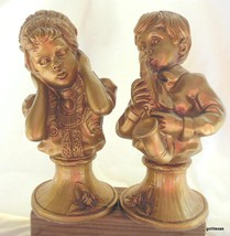 "Vintage Chalkware Boy& Girl with Saxophone 10"" Gold  Universal Statuary 1971 - $24.00"