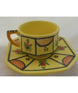 Quimper Soleil Yellow Cup and Saucer Breton Woman Hand Painted - $50.40