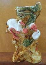 "Majolica Pottery Vase Cranes 10"" - $44.40"