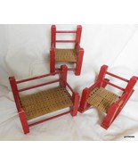 "Vintage Set of 3 Wood and Wicker Sofa Chair and Rocker 5"" Tall - $75.40"
