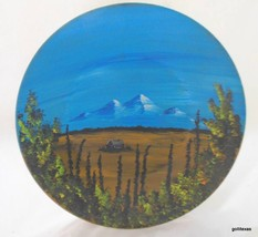 Vintage Hand Painted Mountain and Cabin Scene o... - $45.40