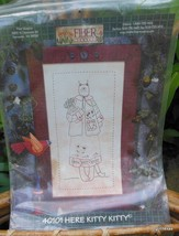 "Embroidery Sampler Pattern  ""Here Kitty Kitty""  14 x 20 in.  Complete / Unused - $13.40"