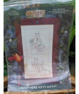 """Embroidery Sampler Pattern  """"Here Kitty Kitty""""  14 x 20 in.  Complete / ... - $13.40"""