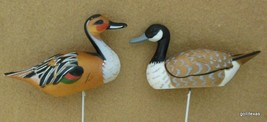 """Vintage Set f 2 Plastic Geese or Goose and Duck on 5"""" Wires Made in Hong... - $16.40"""
