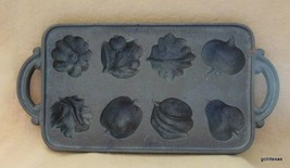 "Cast Iron Muffin Mold Leaves and Fruits and Vegetables 15.5 x 7.5"" John ... - $45.40"