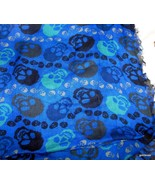 "Vintage Skull Scarf 28"" x 74 Dark Blue Background Fringed on all Sides S... - $34.40"