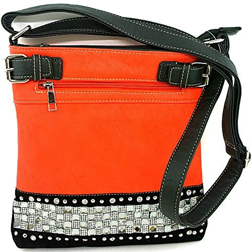 Rhinestone Studded Crystal Squares Messenger Bag Cross Body Purse (Coral)