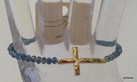New Stretch Bracelet Irridescent Blue Crystals with Gold Tone Cross - ₨717.58 INR