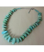 """Bold Chunky Turquoise Necklace Graduated 17"""" with Extender - $45.40"""