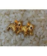 Vintage Gold Tone 2 Elephants Pin Faux Ruby Eyes - $14.40