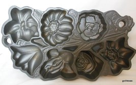 "Vintage Cast Iron Flower Muffin Mold Wright 7.5 x 14"" HEAVY - $19.00"