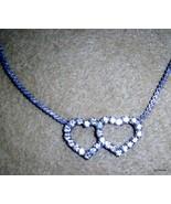 "Dainty Interlock Rhinestone Hearts  Silver Chain 15.5"" - $13.40"
