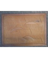 "Vintage Hand Carved Picture 3 Dolphins 11.5 x 16"" A - $20.00"