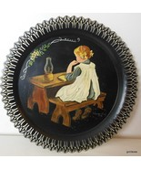 "Vintage Tole Hand Painted Metal Wall Plaque Girl Reading  Signed 12""  1982 - $26.00"