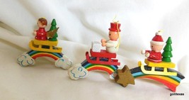 """Vintage Set of 3 Wood Rainbow Ornaments Hand Painted 2.5"""" - $14.40"""